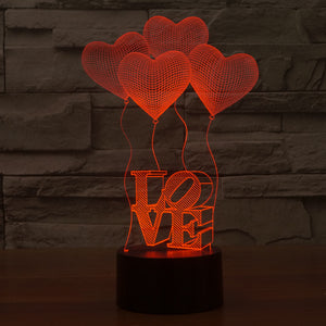 Heart Shape  3D LED Lamp 7 Colors  Flashing