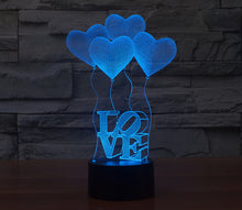 Load image into Gallery viewer, Heart Shape  3D LED Lamp 7 Colors  Flashing