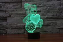 Load image into Gallery viewer, 3D LED Lamp Bear and Heart, 7 Colors Flashing