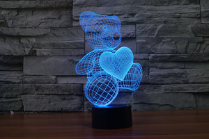 3D LED Lamp Bear and Heart, 7 Colors Flashing