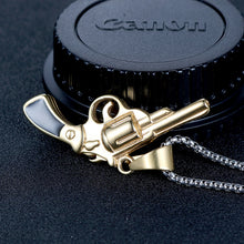 Load image into Gallery viewer, men's gold gun pistol Necklace pendant