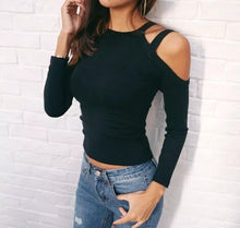 Load image into Gallery viewer, Women Long Sleeve Cut Out Shoulder Fashion Knitted Slim Fit Blank T-Shirt - Risen Fashion