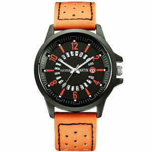 Mens Fashion Leather Strap Waterproof Quartz Watches With Calendar - Risen Fashion