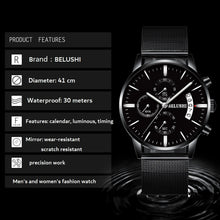 Load image into Gallery viewer, Luxury Mesh band stainless steel chronograph watches Waterproof Quartz wrist Watch - Risen Fashion