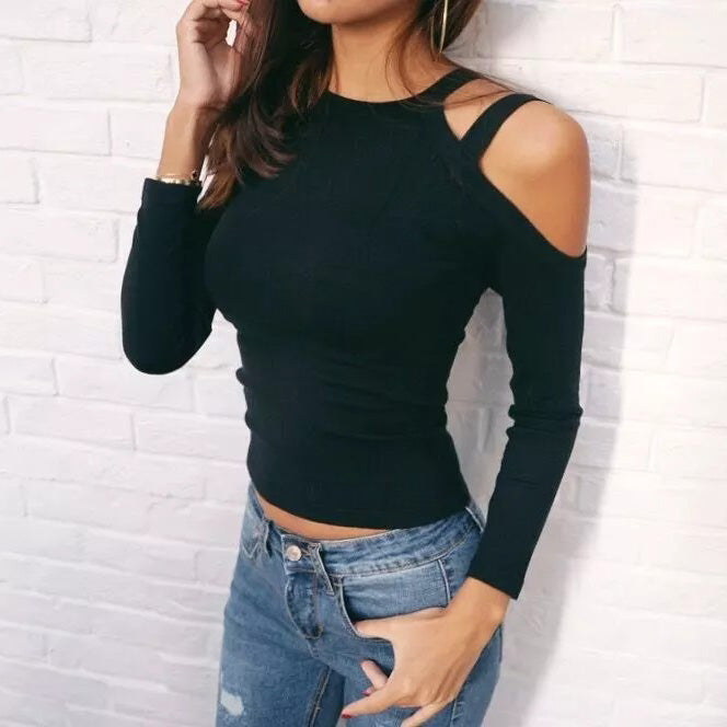 Women Long Sleeve Cut Out Shoulder Fashion Knitted Slim Fit Blank T-Shirt - Risen Fashion