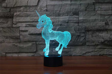 Load image into Gallery viewer, 3D Unicorn LED Lamp 7 Colors Flashing