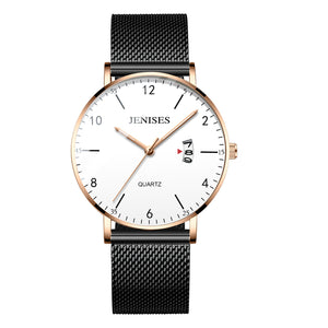 Ultra Slim  Unisex Stainless Steel Mesh Band Quartz Wrist Watches - Risen Fashion