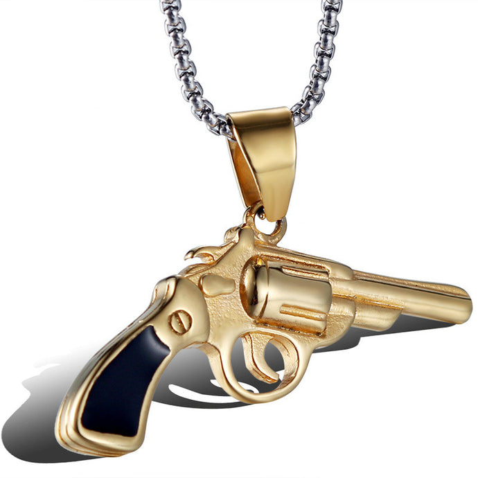 men's gold gun pistol Necklace pendant
