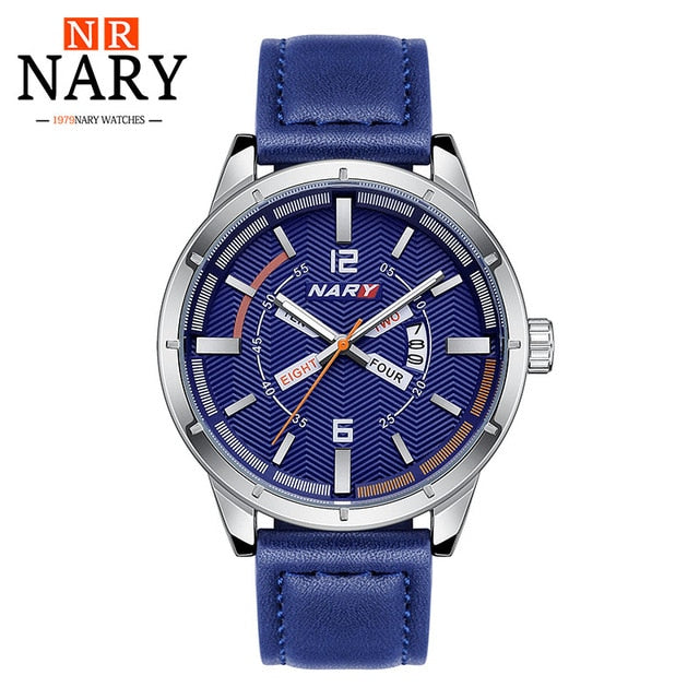 Mens Quartz Watches  With Leather Strap,Calendar - Risen Fashion