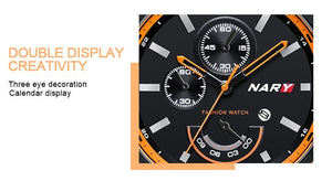 NARY Watch For Men Brand Casual Fashion Watches Male Quartz Clock Men's Leather Date Display Watchs Man With Wristwatches - Risen Fashion