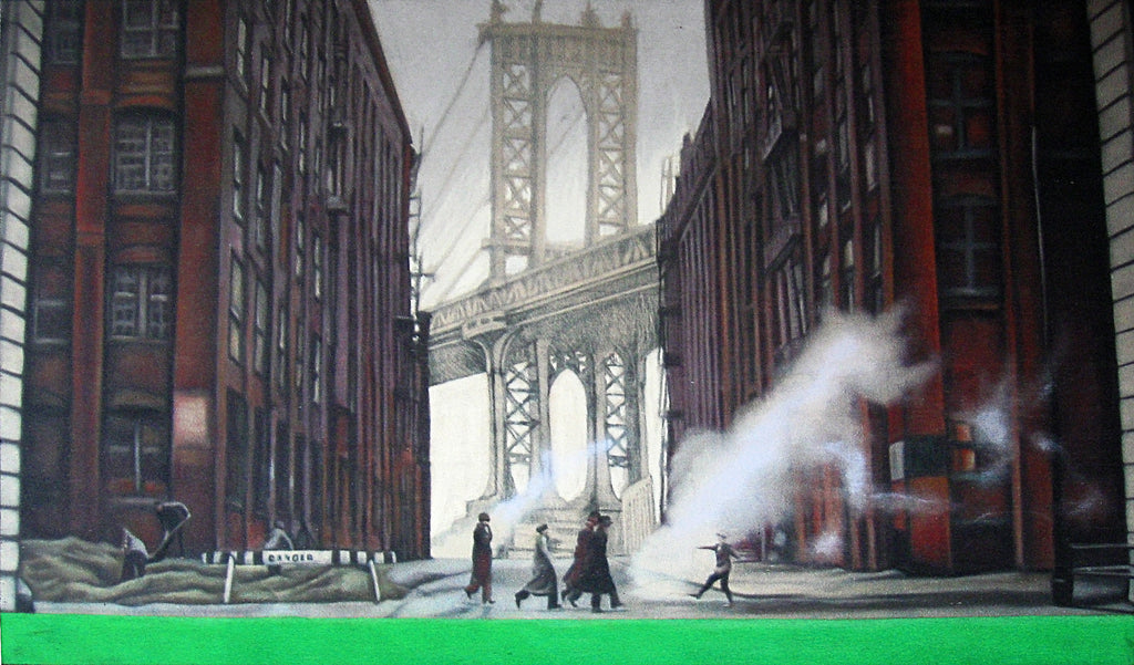 Luca Zampetti Painting They were going to meet their destiny in Williamsburg Bridge 2 - Luca Zampetti Painting They were going to meet their destiny in Williamsburg Bridge 2 - 5 Pieces Gallery - Contemporary Art & Photography