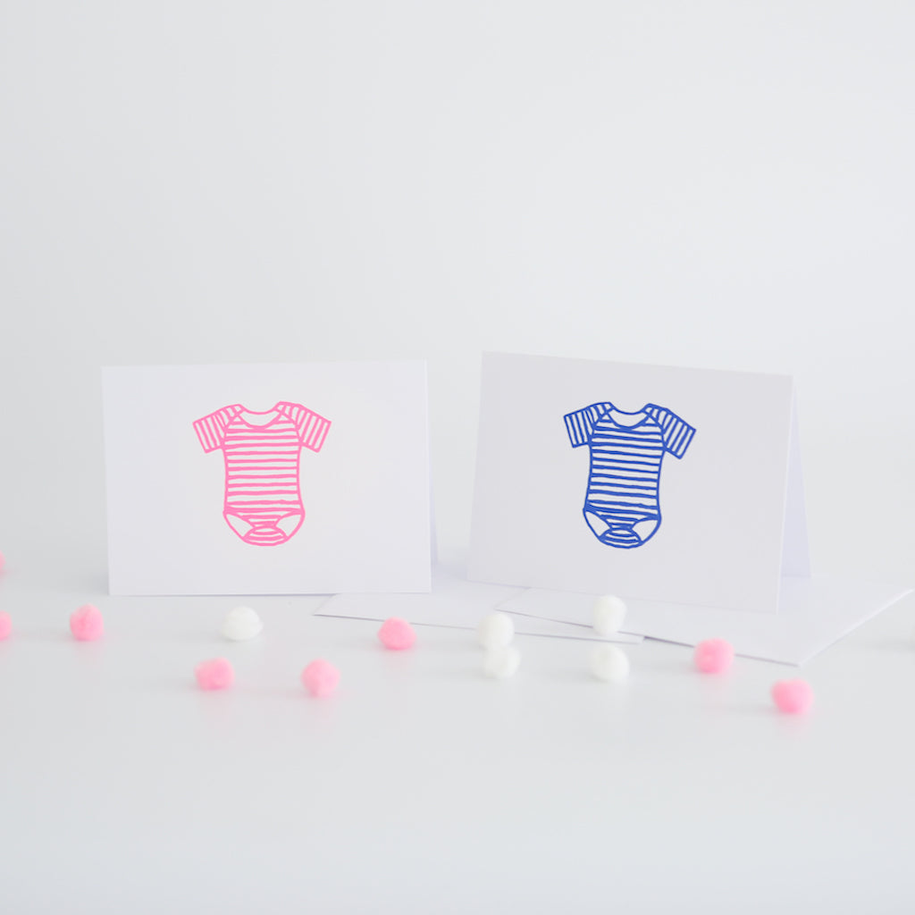 New Baby Card - Striped Baby Vest