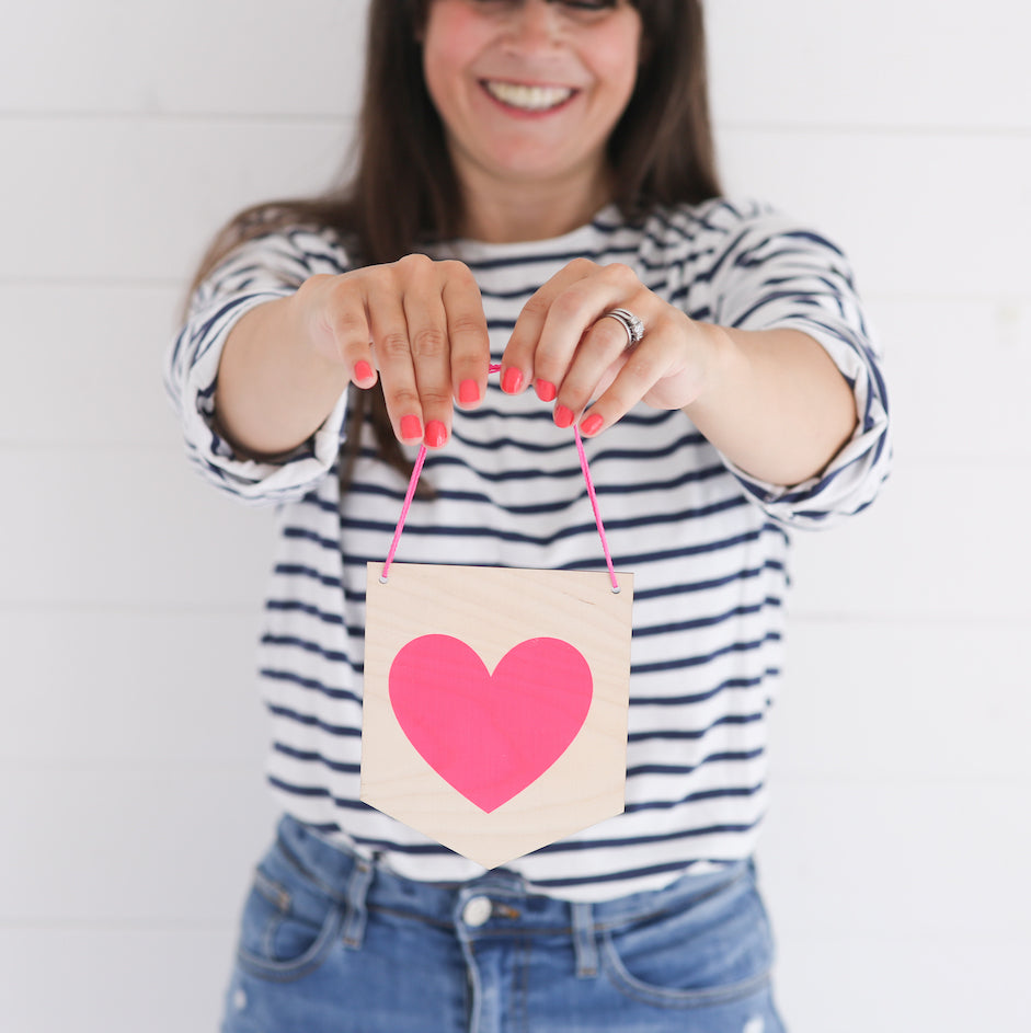 Neon Pink Heart Pennant