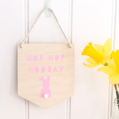 Hop Hop Hooray Rabbit Wall Plaque