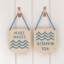 Vitamin Sea Wooden Wall Plaque - Blue, Black