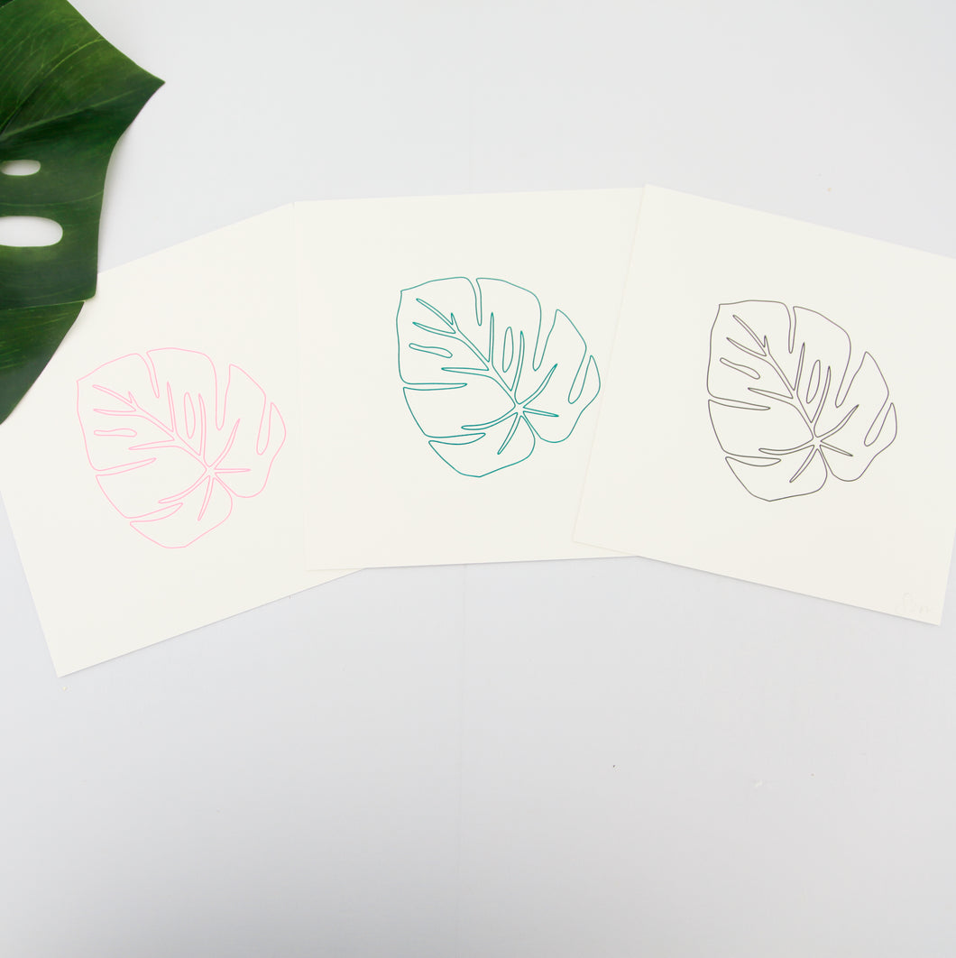 Monstera Screen Print - Neon Pink, Green or Black