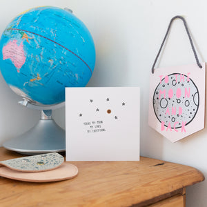 Pink Glow In The Dark To The Moon and Back Wooden Wall Plaque