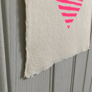 Screen Printed Neon Pink Stripe Heart