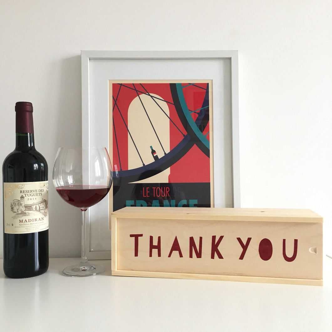 Screen Printed Wooden Wine Box