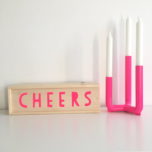 Neon Pink Cheers Wine Box