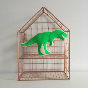 Neon Green Dinosaur Mini Pillow
