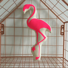 Neon Pink Flamingo Mini Pillow