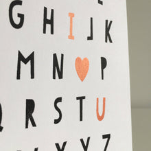 I Love You Typographic Screen Printed Card - Copper