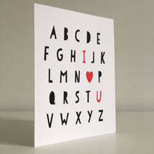 I Love You Typographic Screen Printed Card - Red