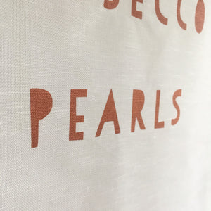 Peonies, Prosecco & Pearls Tea Towel