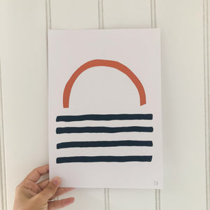Sunset Screen Print - Copper and Dark Blue