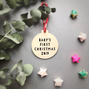 Baby's First Christmas Wooden Bauble