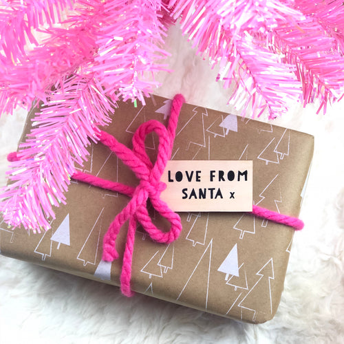 Love From Santa Wooden Christmas Gift Tag