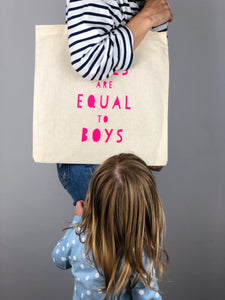 Girls Are Equal To Boys Tote Bag In Collaboration With Thea Chops Books