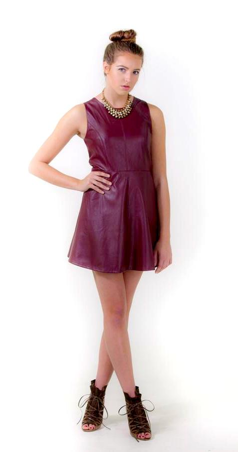 Burgundy Leather Dress