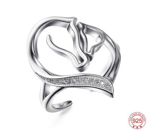 Genuine 925 Sterling Silver Cubic Zirconia Horse Ring