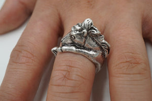 Antique Bronze And Silver Plated Adjustable Horse Ring