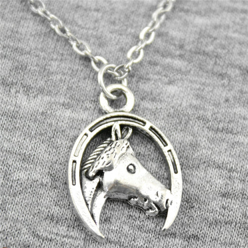 Handmade Horse And Horseshoe Pendant Necklace