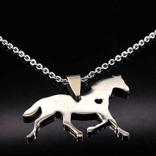 Steel Silver Heart Horse Necklace