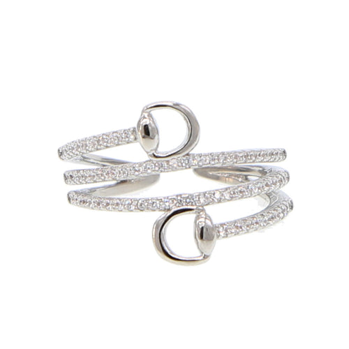 Horse Stirrup Wrap Around Zirconia Ring