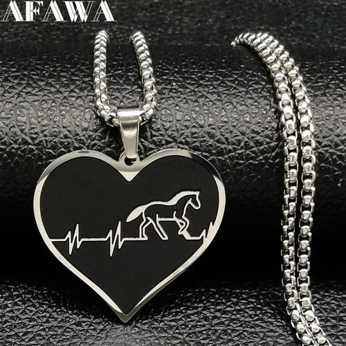 Cardiogram Horse Steel Choker Necklace