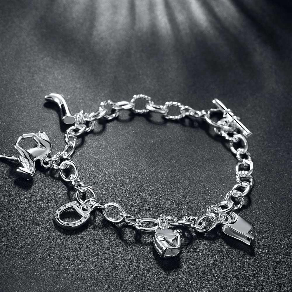 925 Silver Plated Charm Bracelet