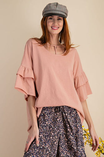 Oversized Ruffle Bell Sleeve Knit Tunic