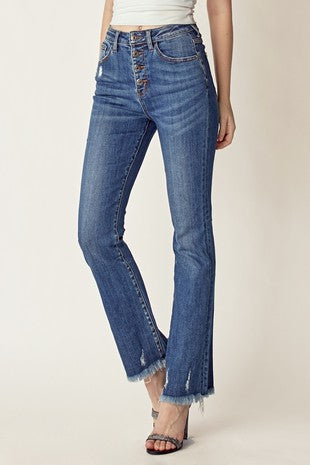 Button Fly Raw Hem Straight Leg Jeans