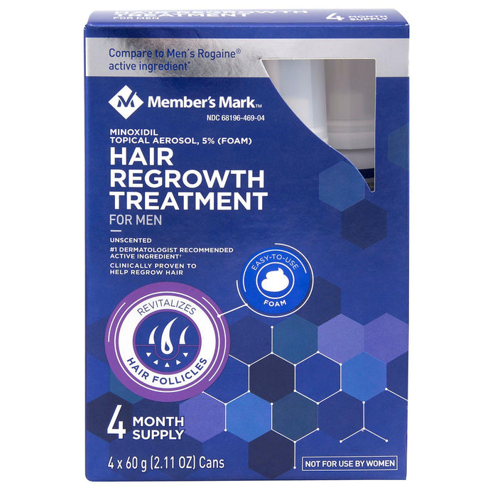 Member's Mark 5% Minoxidil Extra Strength Foam Hair Loss and Hair Regrowth Treatment 4-Month