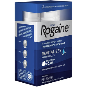 Men's Rogaine Hair Loss and Hair Regrowth Treatment Minoxidil Foam 3-Month