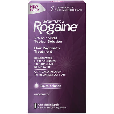 Women's Rogaine Hair Loss and Hair Regrowth Treatment 2% Minoxidil Topical Solution 1-Month