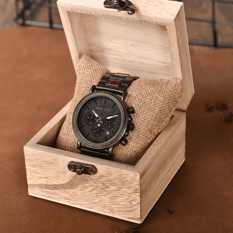 Image of Wood Stainless Steel Mens Wooden Watch Chronograph Jewelry & Watches Gadget Monkey