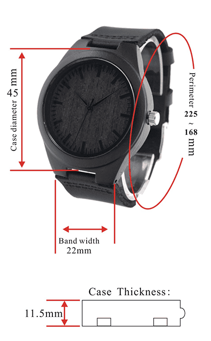 Mens Black Wooden Watch With Real Leather - Quartz, Natural Ebony Wood Jewelry & Watches Gadget Monkey