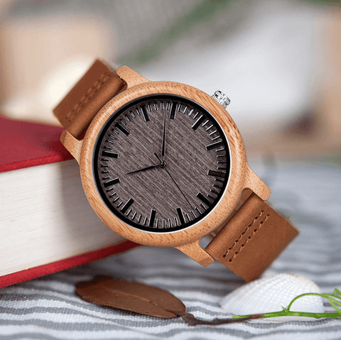 Vintage Round Bamboo Wooden Quartz Watch With Leather Bands Jewelry & Watches Gadget Monkey