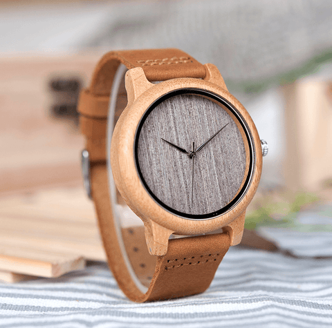 Image of Vintage Round Bamboo Wooden Quartz Watch With Leather Bands Jewelry & Watches Gadget Monkey